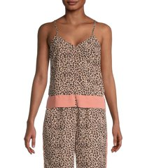 bb dakota women's safari party top - brown - size m