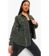 oversized gebleekte corduroy blouse, washed khaki