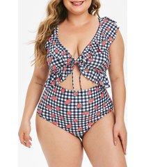 ruffle gingham watermelon print cutout plus size one-piece swimsuit
