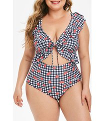 ruffle gingham watermelon print cutout plus size one-piece swimsuit