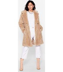 womens oh fur-ry nice faux fur longline coat - beige