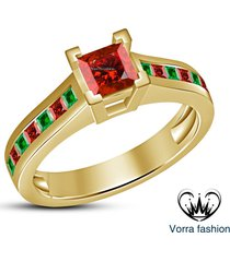 princess cut red garnet ladies engagement ring 14k yellow gold plated 925 silver