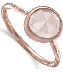 siren rose quartz stacking ring, rose gold vermeil on silver