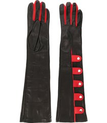 manokhi two-tone snap button gloves - black