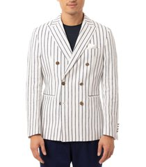 tallia orange men's slim-fit navy blue/white vertical stripe double-breasted sport coat