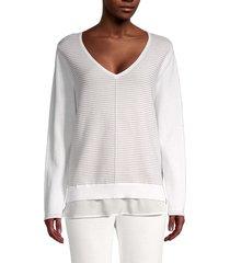 calvin klein women's 2fer striped cotton sweater - cloud - size s
