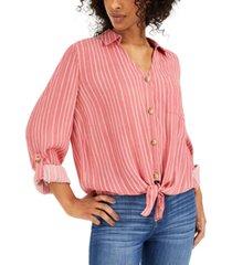 hippie rose juniors' tie-front shirt