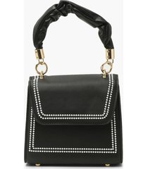 ruched handle top stitched mini grab bag, black
