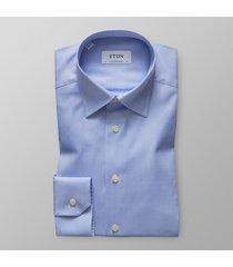 eton heren overhemd licht effen royal oxford hidden button-down blauw