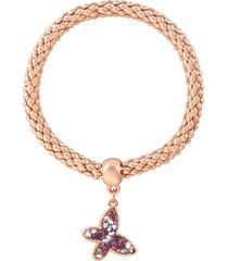 bracciale farfalla in metallo rosato e cristalli per donna