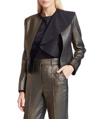 akris punto women's gold lamé roundneck jacket - gold - size 6