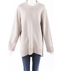 derek lam 2019 color block cashmere knit sweater beige/black sz: l