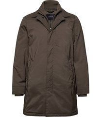 twill coat w detachable collar dunne lange jas bruin lindbergh