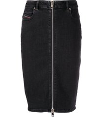 diesel front zip pencil skirt - black