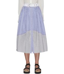 button front stripe poplin midi skirt