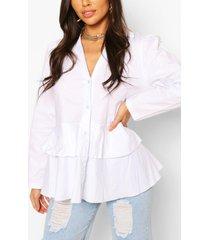 cotton ruffle peplum shirt, white
