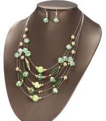 collana di cristallo multistrato alla moda orecchini pendenti in ceramica set di gioielli di lusso per feste di matrimonio