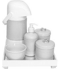 kit higiene espelho completo porcelanas, garrafa e capa flor de liz prata quarto bebê unissex potinho de mel