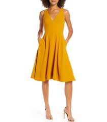 women's dress the population catalina fit & flare cocktail dress, size large - yellow