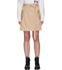 belted flap pocket mini skirt
