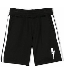 neil barrett black cotton track shorts