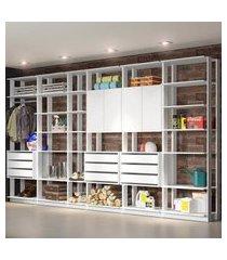 closet guarda roupa 2 armários 9 gavetas branco lilies
