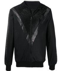 philipp plein chevron-rhinestone bomber jacket - black