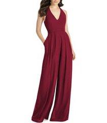 women's dessy collection arielle v-neck lux chiffon jumpsuit, size 18 - burgundy