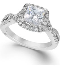 twist halo by marchesa certified princess cut diamond engagement ring in 18k white gold (1-1/3 ct. t.w.), created for macy's