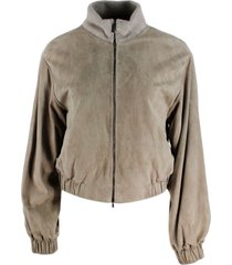 fabiana filippi suede bomber jacket with knit collar embellished with micro sequins