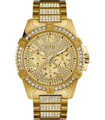 guess men's crystal gold-tone stainless steel bracelet watch 46mm
