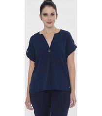 blusa maga corta con escote v azul lorenzo di pontti