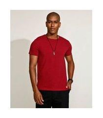 camiseta masculina básica com elastano manga curta gola careca vermelha