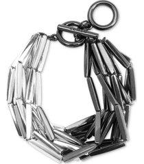 zenzii two-tone rectangular-beaded multi-row bracelet