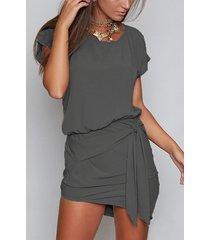 dark grey round neck self-tie design mini dress