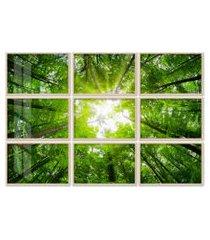 quadro 120x180cm painel copas das árvores folhagem verde moldura natural com vidro