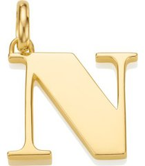 alphabet pendant n, gold vermeil on silver
