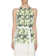 floral print knife pleated belted tank top