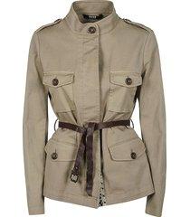 belted waist military shirt