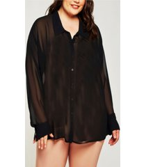 icollection london chiffon button down boyfriend sleep shirt