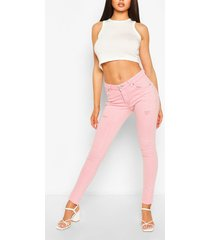 high waist stretch pastel skinny jeans, pink