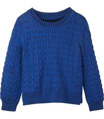 grof gebreide pullover uit bio-katoen met kabelpatroon en bicolor-look, ultramarijn/zwart 44/46