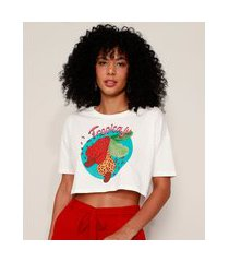 "camiseta feminina cropped tropicaju"" animal print onça manga curta decote redondo off white"""