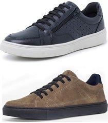 kit 2 sapatenis sandalo soft preto e basic kaki