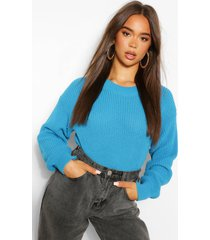 crew neck crop sweater, turquoise