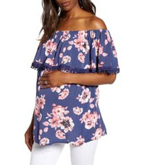 fourteenth place cha cha off the shoulder maternity top, size medium in navy blooms at nordstrom