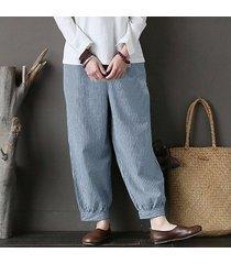 zanzea mujeres de la alta cintura ocasional de la raya plain polainas pantalones harén pantalones azules -azul