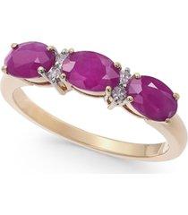 certified ruby (1-3/4 ct. t.w.) & diamond (1/20 ct. t.w.) three-stone ring in 14k gold