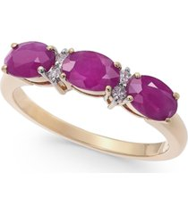 certified ruby (1-3/4 ct. t.w.) & diamond (1/20 ct. t.w.) three-stone ring in 14k gold