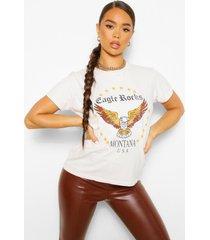 gebleekt eagle rock t-shirt met tekst, stone